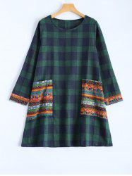 Tribal Print Plaid Paneled Dress