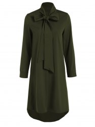 Pussy Bow Tied Neck Shirt Dress - OLIVE GREEN XL