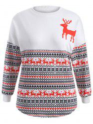 Plus Size Elk Ornate Print Sweatshirt