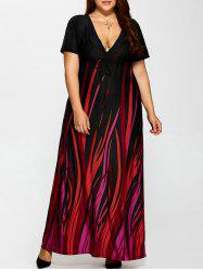 Plus Size Printed Empire Waist Maxi Formal A Line Party Dress