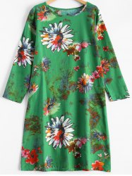 Blossom Print Linen A-Line Dress -
