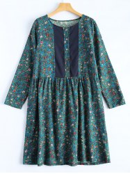 Flower Print Paneled Smock Dress