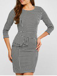 Ruffled Houndstooth Print Sheath Dress - WHITE AND BLACK