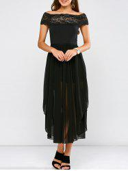 Lace Panel Side Slit Chiffon Party Dress - BLACK 2XL