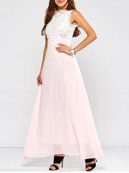 Maxi Lace Panel A Line Prom Formal Dress - SHALLOW PINK
