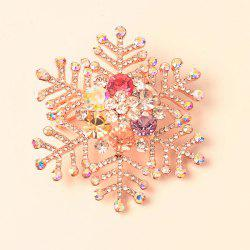 Broche flocon de neige en pierre gemme artificielle - Or Rose