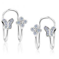 Butterfly Silver Plated Clip Earrings - SILVER