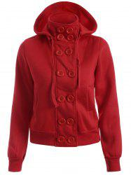Double Breasted High Collar Hoodie Jacket -