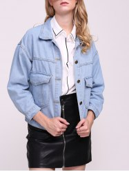Boyfriend Denim Jacket with Pockets -