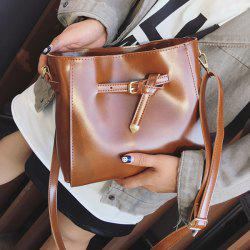 Metallic Buckle PU Leather Crossbody Bag -