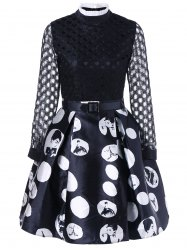 Openwork Print Vintage Dress With Belt