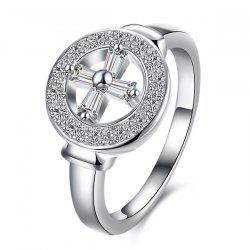 Rhinestone Crucifix Circle Ring -