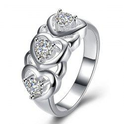 Rhinestone Engraved Heart Ring - SILVER