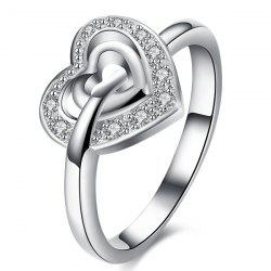 Rhinestone Double Heart Ring - SILVER