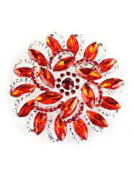 Rhinestone Flower Brooch - RED