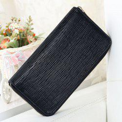 Waving Embossed Zip Around Wallet - BLACK
