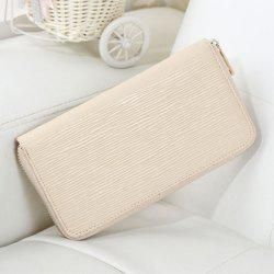 Waving Embossed Zip Around Wallet - GLITTER CREAMY WHITE