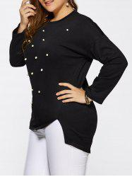 Beaded Plus Size Pullover Sweater - BLACK 5XL