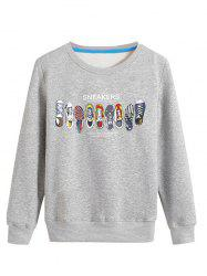 Cartoon Sneakers Print Crew Neck Long Sleeve Sweatshirt -
