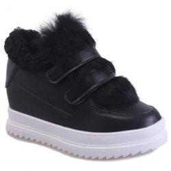 Fuzzy Hidden Wedge Ankle Boots