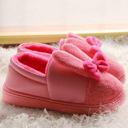 Bowknot House Fur Slippers - RED