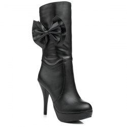 Bowknot PU Leather High Heel Boots