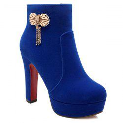 Metal Bow Chunky Heel Ankle Boots - BLUE