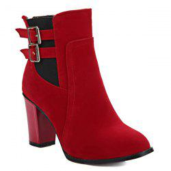 Chunky Heel Double Buckles Short Boots