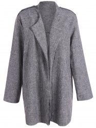 Open Front Plus Size Lapel Coat - SMOKY GRAY