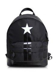 PU Leather Insert Star Print Backpack - BLACK