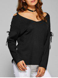 Criss Cross Side Slit Hollow Out Sweater