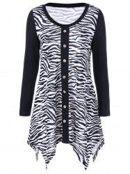 Plus Size Zebra Print Single Breasted Tee - WHITE AND BLACK