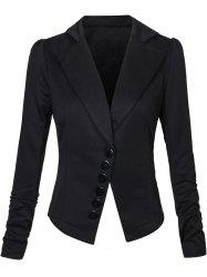 One Button Lapel Asymmetric Jacket Blazer - BLACK