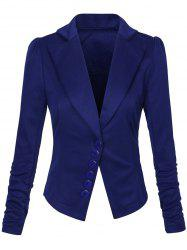 One Button Lapel Asymmetric Jacket Blazer - DEEP BLUE