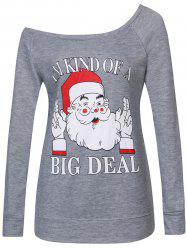 Santa Print Skew Neck Christmas Sweatshirt - GRAY 2XL