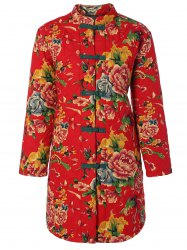 Chinese Style Floral Print Quilted Jacket -
