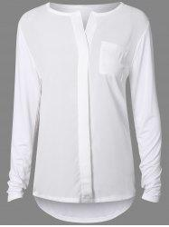 Splicing Pocket Design Waviness Hem Blouse - WHITE XL
