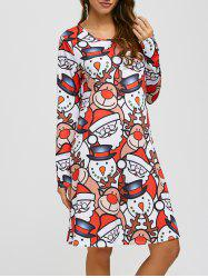 Jewel Neck Christmas Cartoon Print Long Sleeve Dress