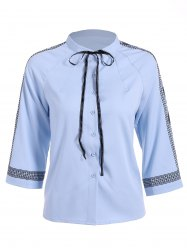 Embroidered Trim Pussy Bow Chiffon Blouse -