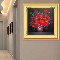 point de croix DIY rouge Florals Zircon  - Rouge