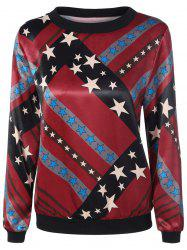 Round Neck Stars Print Pullover Sweatshirt - COLORMIX XL