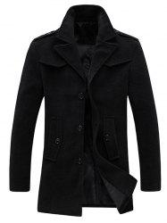 Single Breasted Pocket Epaulet Design Woolen Coat