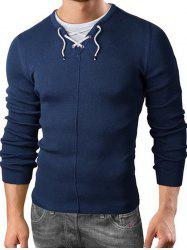 Faux Twinset Pullover Drawstring Knitted Sweater - DEEP BLUE