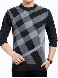 Plaid Print Crew Neck Color Block Sweater