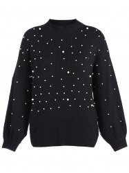 Lantern Sleeve Beading Loose Sweater -