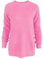 Raglan Sleeve Loose Sweater - LIGHT PINK