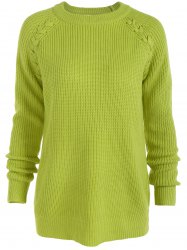 Raglan Sleeve Loose Sweater - FLUORESCENT YELLOW