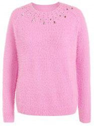 Beading Raglan Sleeve Sweater - LIGHT PINK 5XL