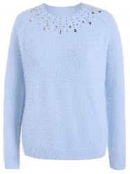 Beading Raglan Sleeve Sweater - LIGHT BLUE