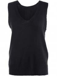 High-Low Slit Sleeveless Sweater Vest